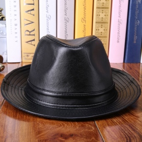 thicken wool lining sheepskin leather men hat cap