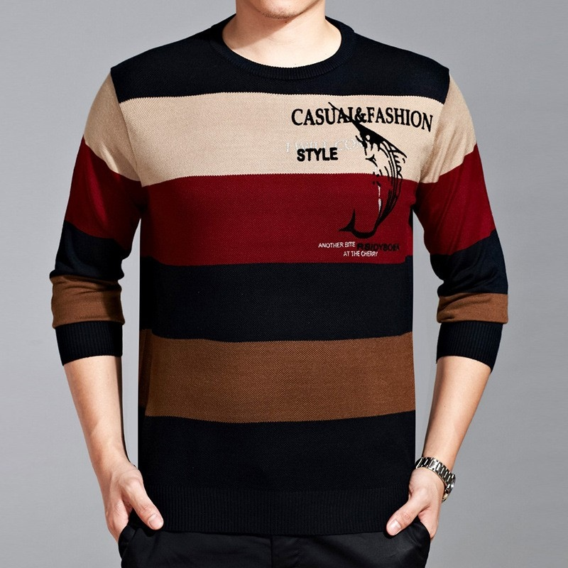 Long sleeve round collar wide stripes kinitted young men 39 s for Round collar shirt men