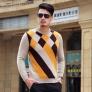 argyle pattern long mink velvet sweatshirt sweater for men