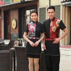 personality paint flower print waiter waitress uniform