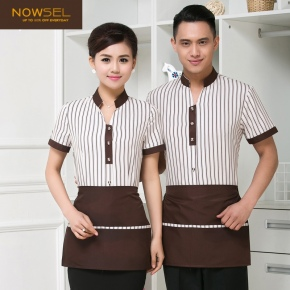 fashion stripes lady waiter uniform waiteress shirt