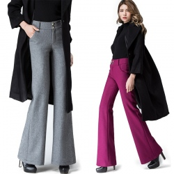 Europe office women flare pant wool fabric