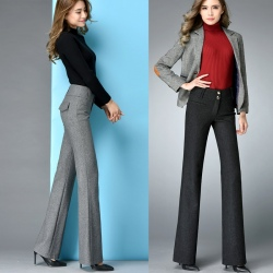 Noble upgraded winter wool bell bottom pant trousers
