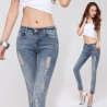 light blue charming red mouth women jeans