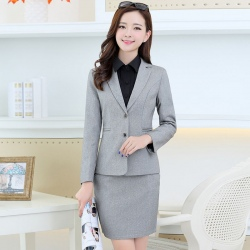 two buttons young lady skirt suit for work