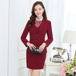 long sleeve office lady uniform women suits ((blazer + skirt+vest+shirt +corsage))