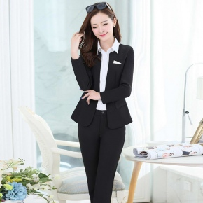 one buttons long sleeve women pant suits work uniform