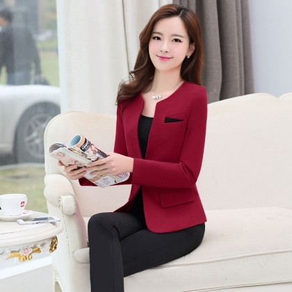 Sale! Winter Wool V Collar Women Pant Suits