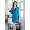 classic casual one button roll hem collarless office Lady OL women's blouse blazer skirts suits