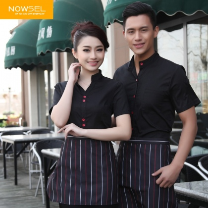 red button solid color waiter uniform shirts
