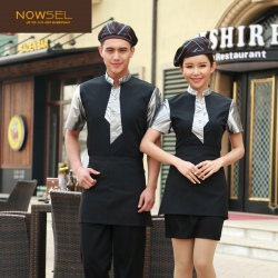 summer short sleeve waiter shirt waitress shirt uniform
