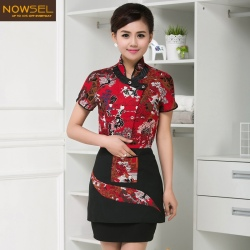 special traditional Chinese style print waitress blouse uniform