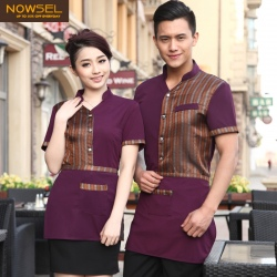 summer breathable short sleeve waiter shirt uniform