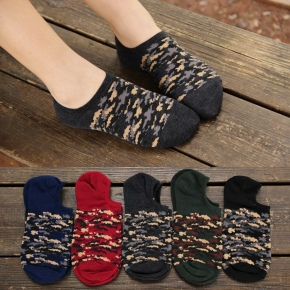 Korea camouflage knitted cotton women's slipper socks