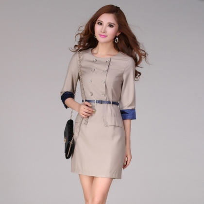 Korea design double-breasted high quality work dress for office women