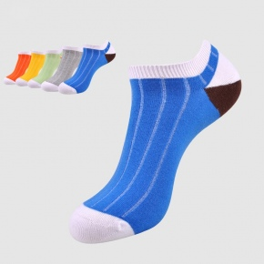 candy patchwork seamless Y heel short sport sock for men