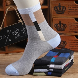 Geometric patterns cotton business men's socks