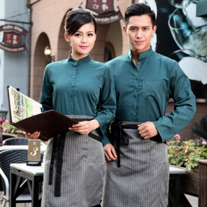 fashion vintage half sleeve waiter waitress shirts and apron Waiter 101