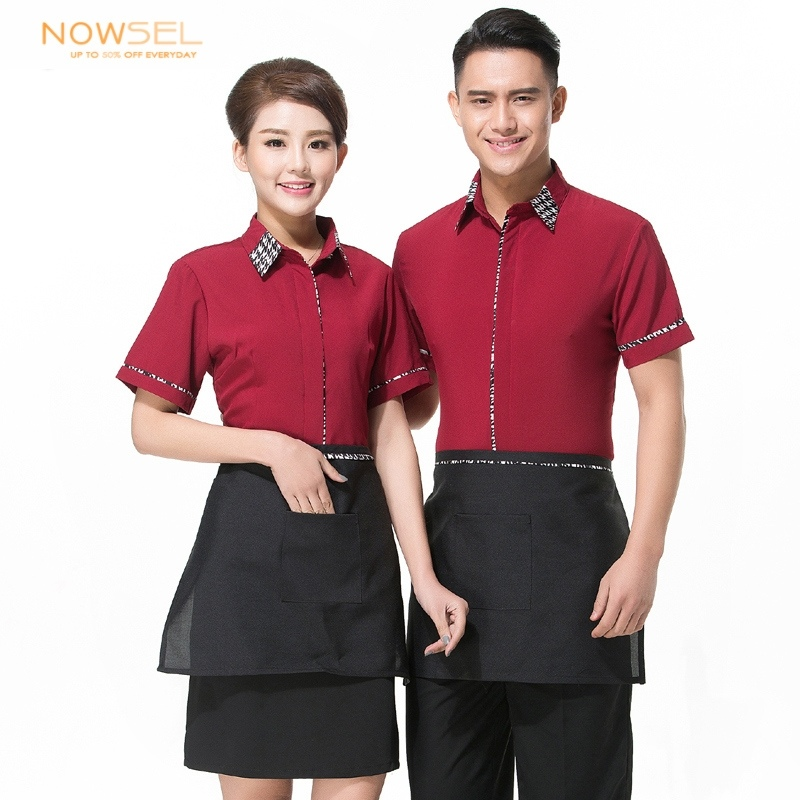 Fashion restaurants coffee bar waiter uniform shirt apron gift