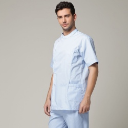Europe design high quality side opening male nurse coat medical uniform