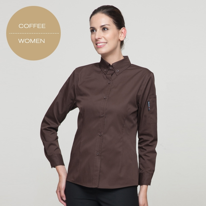 Long sleeve button down collar waiter waitress shirt for Button down uniform shirts