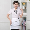 women pink stripes shirt + apron