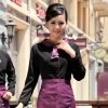 waitress black shirt + purple apron