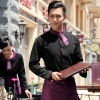 waiter black shirt + purple apron