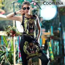 wild animal tiger print punk women young girl's t-shirts + trousers
