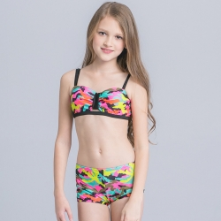 lovely heart embed girl tankini two-piece swimwear