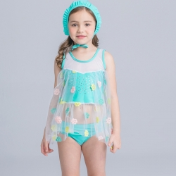 heart print child girl swimwear wholesale