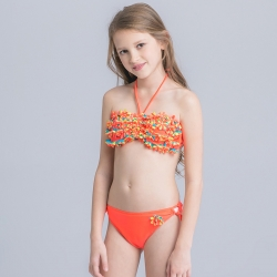 floral embed girl bikini two-piece swimwear