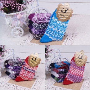 winter thicken Contrast color angora wool blends socks for women