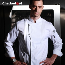 Italy design Pleated front restaurant chef coat jacket