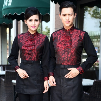 top grade stain jacquard floral pattern water uniform waitress workwear
