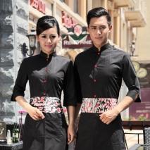 summer half sleeve floral waist japan design waiter waitress shirt uniform