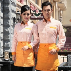 summer high quality stripes professional waiter waitress uniform customization,factory outlets
