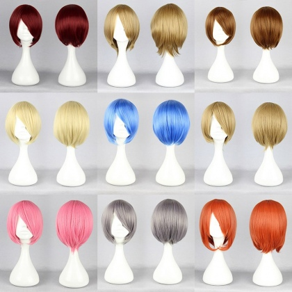 colorful short party cosplay wigs,hair extension for young girls 32cm