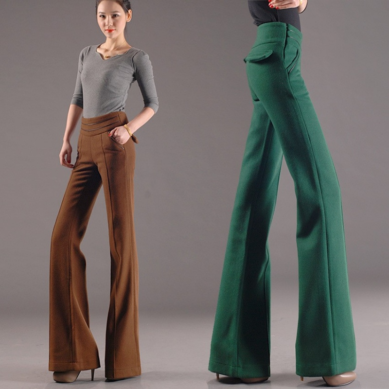 Thicken Woolen Wide Leg Office Formal Womenu0026#39;s Flare Pants Bellbottoms - NOWSEL