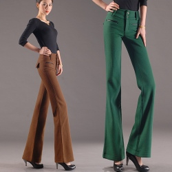 new woolen warm winter women's wide leg trousers flare pant