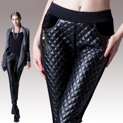 Europe sexy PU leather fleece zipper pocket woman straight leg trouser pant