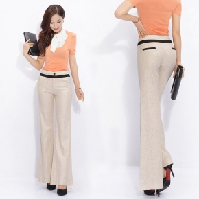 top quality breathable linen Korea women boot cut flare pant