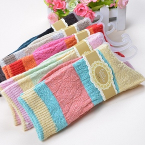candy bulky knitted wide stripes sock for women