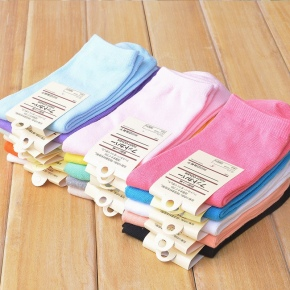 Simple cotton candy color women's cotton socks