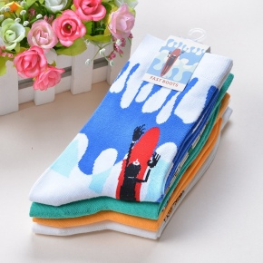 Cartoon bottle print women sock wholesale