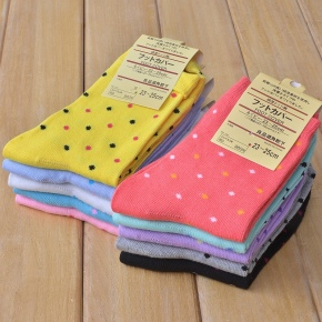 lovely dot print candy color women socks