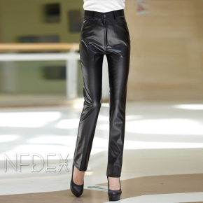 thick fleece lining keep warm women's pu leather trouser pant