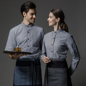 grid printing long sleeve waitress waiter uniform shirt