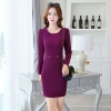 purplefall round collar women long sleeve work dress BLKE 1633