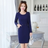 navyfall round collar women long sleeve work dress BLKE 1633